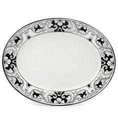 "DERUTA - 'VARIO, NERO' Collection - Oval Platter, 16.5x12.5"" | Artistica Italian Ceramics"