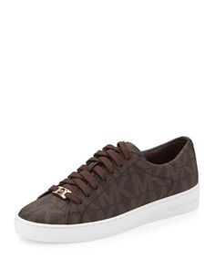 Keaton Logo PVC Sneaker, Brown by MICHAEL Michael Kors at Neiman Marcus.