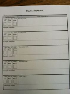 Lumsden-Self assessments to use in all subject areas. This would be a nice addition in student data notebooks.