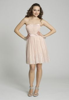 Short Dresses - Ruched A-line Sequin Strapless Prom Dress from Camille La Vie and Group USA