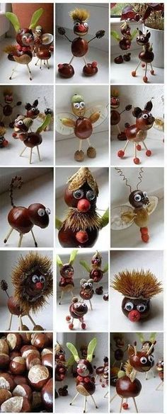 Kastanien mit Blättern – kreative Ideen # Ideen # Kastanien Chestnuts with leaves – creative ideas # Ideas # Chestnuts # … Autumn Crafts, Fall Crafts For Kids, Nature Crafts, Toddler Crafts, Diy For Kids, Kids Crafts, Diy And Crafts, Christmas Crafts, Arts And Crafts