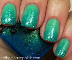 two coats of Orly Ancient Jade , sponge on NYX Sea of Cortez.
