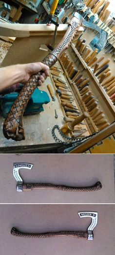 Secured the axe, a piece of iron with an engraving. Urgently, beautifully and that you want, make the Alexey Cherezov // Иван Резин Leather Working, Metal Working, Vikings, Armas Ninja, Viking Axe, Battle Axe, Medieval Weapons, Fantasy Weapons, Custom Knives