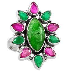 Emerald-amp-Ruby-925-Sterling-Silver-Ring-Jewelry-s-9-SR172051