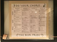 Roommate chore chart. Do all your chores you get beer at the end of the week!! Don't do all your chores, you get to BUY beer for the others. Use a dry erase to check them off as you go :)