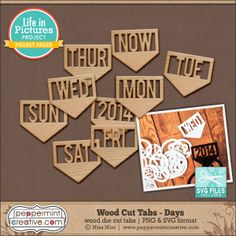 Wood Cut Tabs - Days. Includes cutting files. #SVGfiles