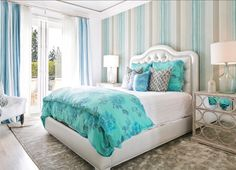 Bedroom Design. A neutral color palette gets exciting with turquoise and blue decor. I am loving this bedroom!  Bedroom Decor Ideas. #Bedroom