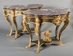 Exceptional pair of late 19th century Boulle style marquetry console table