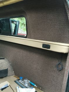 New walls and shelf.  #2001 #Quigley #Sportsmobile #4x4 #Ford #E350 #Econoline #Van #PentHouseTop #PopTop #Awning