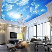 beibehang photo wallpaper Large clouds 3d ceiling lobby living room ceiling conference 3d mural wallpaper for wall contact paper(China)
