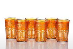 Trellis Moroccan Tea Glass Set, Orange $49.00
