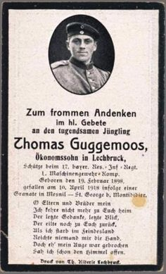 WW1-GERMAN-MASCHINEGUNN-DEATH-CARD-STERBEBILD-KIA-GRENADE-MESNIL-MONTDIDIER