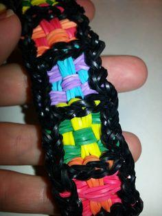 ONE Loom Checkerboard Rainbow Loom Bracelet Tutorial
