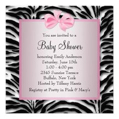 Pink Black Shoes Pink Zebra Baby Shower Custom Invitation from Zazzle.com
