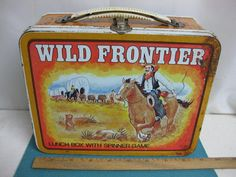 Vintage 1977, Ohio Art metal Wild Frontier Lunch Box with built in Spinner Game  | eBay