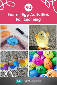 Use these Easter egg activities to teach math, reading, and STEM skills. You'll also find some of the coolest plastic egg crafts around. Easter Activities For Kids, Preschool Activities, Egg Crafts, Easter Crafts, We Are Teachers, Stem Skills, Plastic Easter Eggs, Teaching Math, Teaching Ideas
