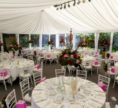 Dining marquee at Lords of the Manor in the Cotswolds with beautiful pleated white linings. Outdoor Wedding Decorations, Wedding Receptions, Table Decorations, Marquee Hire, Marquee Wedding, Dream Wedding, Wedding Day, Wedding Gallery, Fairy Lights