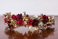 Red and Gold Flower Crown - Christmas Halo- Wedding - Newborn Photo Prop - Wedding Crown - Floral Hairpiece by LittleLadyAccessory on Etsy