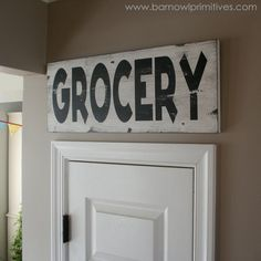 Grocery Heavily Distressed Vintage Style Sign by barn owl primitives on Etsy