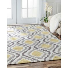 nuLOOM Handmade Modern Ikat Trellis Sunflower Yellow Rug 6 x 9 Yellow Area Rugs, Orange Rugs, Orange Area Rug, Plush Area Rugs, Wool Area Rugs, Wool Rug, Home Design, Trellis Rug, Trellis Pattern