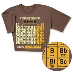 Periodic Table of Beers T-shirt is THE T-shirt for the beer connoisseur in your life. Funny T-shirt features world famous beers from the lightest ales to the heaviest schwarzbier arranged as a periodic table. By ComputerGear.com