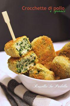 Crocchette di pollo e spinaci - cena o snack?. Le crocchette di pollo e spinaci fritte o cotte al forno fatte in casa