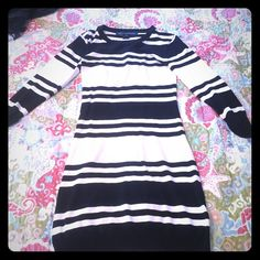 French Connection Mini-dress! Never worn, gorgeous - figure flattering striped Mini Dress. Perfect for Fall with black leggings and boots! French Connection Dresses Mini