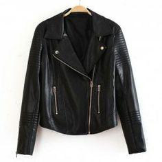 $25.63 Stylish Long Sleeved Motorcycle PU Leather Jacket For Women