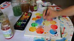 Splashing watercolors on bubbles painting