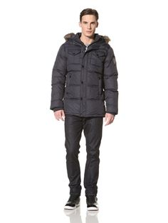 80% OFF No Excess Men's Puffer Jacket with Faux Fur Trim Hood Jacket (Night)