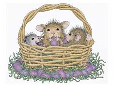 """""""Basket of Friendship"""" from House-Mouse Designs®. This image was recently purchased on a rubber stamp. Click on the image to see it on a bunch of other really """"Mice"""" products."""