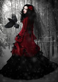 Pontianak photography image of exceptional winter coat and long gown for this Victorian Goth girl