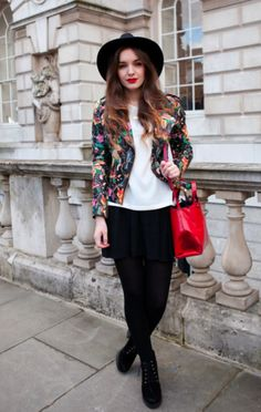 Blogger Olivia Purivis is a shining example of how great high street fashion is. Her painted Topshop biker, simple tee and slouchy pants ooze a modern boho vibe with a striking fedora and red Zara bag. We love that this little jacket could easily have been a top-end, lux version and shows just how great British brands are at creating fabulous fashion at a snip of the designer price... pure thrifty magic! Photo: Kirstin Sinclair
