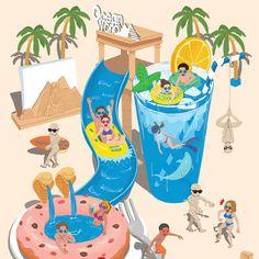 롯데월드 미라클있수마수 (크리스마스) 일러스트 - 그래픽 디자인 · 일러스트레이션, 그래픽 디자인, 일러스트레이션, 그래픽 디자인, 일러스트레이션 Beach Illustration, Graphic Design Illustration, Digital Illustration, Colorful Drawings, Cute Drawings, Boca Anime, Psy Art, Graphic Wallpaper, Zentangle Drawings