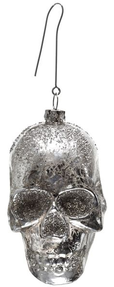 No creepy Christmas tree is complete without a new skull ornament to add to the bunch! This distressed mercury glass skull ornament is distressed & full of glitter. Halloween Trees, Halloween Home Decor, Halloween Christmas, Halloween House, Christmas Holidays, Black Christmas Trees, Little Christmas, Xmas Tree, Xmas Ornaments