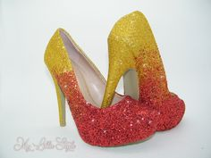 Red and Gold ombre fade two tone effect High heels Ruby Wedding anniversary Bridal shower Bridesmaid shoes Hen do Party Pole Dancing Shoes Bling Heels, Glitter High Heels, White Glitter, Bridal Heels, Wedding Heels, Dancing Shoes, Pole Dancing, Ruby Wedding Anniversary, Bridesmaid Shoes