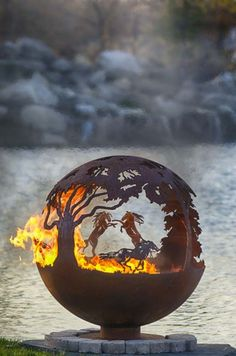 "Wildfire - 37"" Horse Theme Fire Pit Sphere"