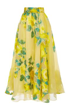 This **Lela Rose** skirt features fil coupé lemon floral detailing, a pleated design, and a high waist fit.
