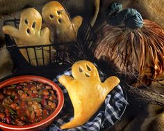 Dippin' Ghosts - Spooky but scrumptious, when the aroma of Ghost shaped rolls rising from the oven and wafting through the air reaches your little goblins they'll gobble them down!