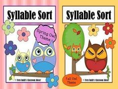 Syllable Sort Bundled Fall and Spring Owls Center Game for Common Core! Differentiate your classroom by using this game three ways: 1. one and two word sort 2. one, two and three word sort 3. one, two, three and four word sort #TPT $Paid