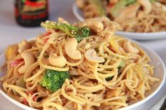 Szechuan noodles with broccoli