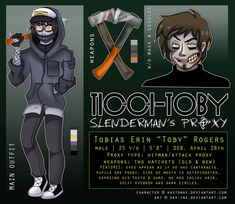 Not all this is the most accurate, but what the hay, I'm running outta stuff to pin. Creepypasta Ticci Toby, Creepypasta Proxy, Creepypasta Cute, All Creepypasta Characters, Slenderman Proxy, Mc Skins, Trauma, Laughing Jack, Spooky Scary