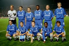 15 September 1999: The CHELSEA team line up prior to the Chelsea vs AC Milan match in the UEFA Champions League at Stamford Bridge. The game finished in a 0-0 draw...