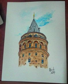 Galata kulesi suluboya - Galata tower watercolor