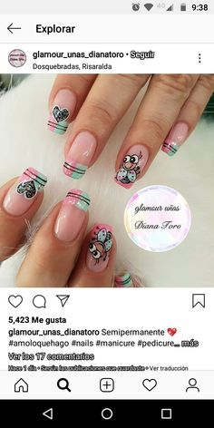 Stylish Nails, Trendy Nails, Cute Nails, Cartoon Nail Designs, Glitter Tip Nails, Natural Acrylic Nails, Nail Art Videos, Girls Nails, Stamping Nail Art