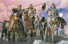 Scythian--ancient nomadic Iranian--warriors on the steppe