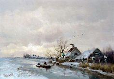 Louis Apol (1850-1936) - Poldervaart in de winter