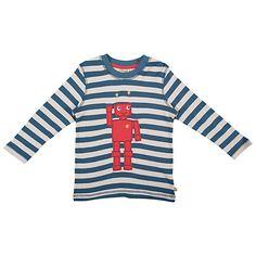Buy Frugi Robot Stripe Long Sleeve Top, Teal Online at johnlewis.com