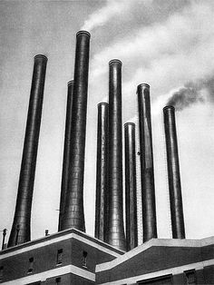 E.O. Hoppé. Smoke Stacks, Ford Factory, Detroit, Michigan   1926