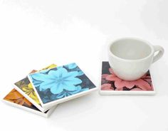 Single Flower Resin Coaster Set